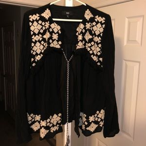 Black long sleeve top with embroidery